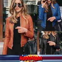 Women Leather Zipper Short Coat Jacket Ladies Slim Fit Biker Casual Blazer Tops