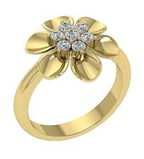 Right Hand Ring Round Cut Diamond 16.45mm Si1 G 0.50Ct 14K Yellow Gold Prong Set