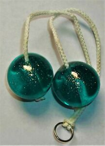 Vintage Clackers knockers Acrylic TURQUOISE GLITTER Toy Ball Noise Maker Game