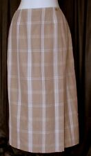Crazy Horse Womens Skirt Tan Brown Plaid Faux Wrap Midi Womens 12 L Lined Fall