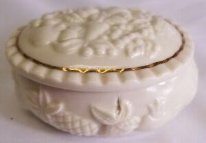Vintage Lenox Porcelain Fruits of Life Gold Trim China Oval Trinket Box