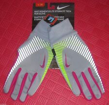 Nike Women's Elite Storm Fit Gloves Grey and Pink Size X Small