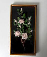 Cadre en relief roses en tissu Vintage 30x16cm
