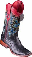 WOMEN LOS ALTOS BLACK FULL QUILL OSTRICH RANCH-SQUARE-TOE WESTERN BOOT