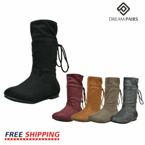 DREAM PAIRS Girls Faux Fur Lined Knee High Flat Lace Boots Winter Riding Boots