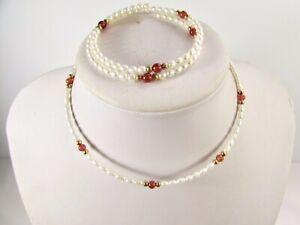 Lee Sands Red Agate & Pearl Coil Choker & Bracelet Set