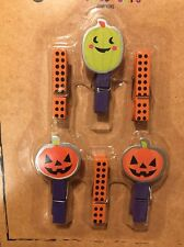 Halloween Wreath Decor Jack O Lantern Small Wood Clips Picture Clips Set 6