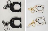Coach F87112 Embellished C 'C' Bag Charm Key Ring Fob Bag Jewelry Chalk OR Black