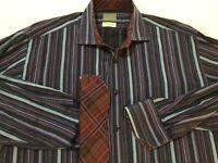 Men's Thomas Dean Shirt Striped Flip Cuff Long Sleeve Button-Down Size XL