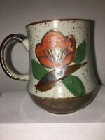 Vintage Stoneware Speckled Red Orange Flowered Coffee Mug