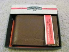 NIB Field & Stream 100% Leather Thin Bifold Wallet - RFID Blocking - Brown Color