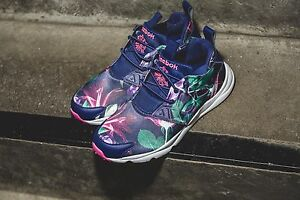 Reebok Furylite Graphic Floral/ Navy Purple Womens Classic Shoes Sneakers AQ9837