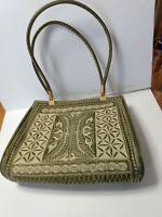 Vintage Embroidered Green & Beige Handbag Gold tone clasps