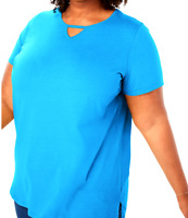 Women's 4X 34/36 Fit 5X Blue Keyhole Cotton Top Shirt Bust 70 Tunic Length 32