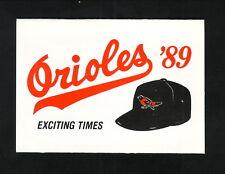 Baltimore Orioles--1989 Pocket Schedule--Giant