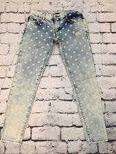 ZARA Trafaluc Sz 2 Denim Polkadot Light Wash Skinny Jeans
