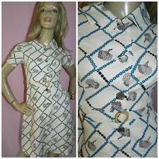 60s KITSCH GEOMETRIC NOVELTY TREE PRINT MOD DRESS 6 XS 1960s VINTAGE