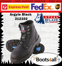 New Steel Blue Mens Work Boots Argyle Lace Up Black Steel Toe AU Size 312102