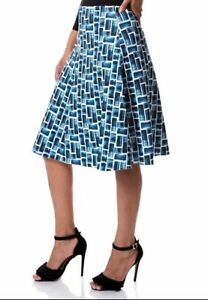 Knee Length Print High Waist Scuba Skirts Swing Skater Midi Long Stretch Gypsy