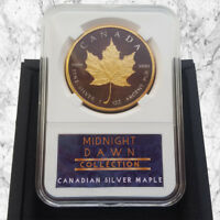 1 OZ 2017 CANADIAN MAPLE SILVER COIN- 24K GOLD & BLACK MIDNIGHT DAWN COLLECTION