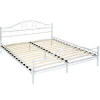 Lit en métal double 2 places cadre de lit + sommier à lattes 180x200 cm blanc