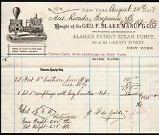 1877 Steam Pumps - Geo F Blake Manufacturing Co - New York -  Letter Head Rare