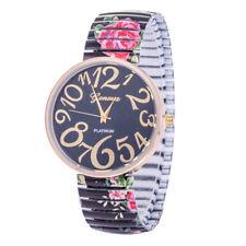 Geneva Floral Vintage Women Elastic Strap Gold Case Quartz Analog Wrist Watch