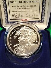 2013 SBSS Freedom Girl COA #9782 Proof 1 Troy Oz .999 Fine Silver Shield Round