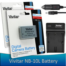 2x Vivitar NB-10L Battery + Charger Kit for Canon Powershot SX50 SX60 G3 X G16