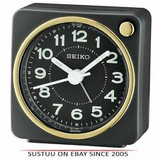 Seiko QHE144J Analogue Bedside Beep Alarm Clock - Snooze,Light Function - Black