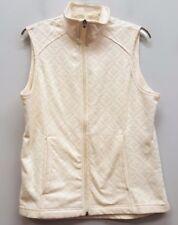 LANDS END Size M Cream Ivory White Zipper Down Sleeveless Fleece Vest