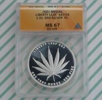 ND ANACS MS 67 D-Cam Proof Like Sativa Marijuana 1 Ounce .999 Silver Round