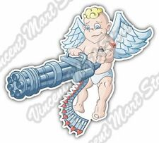 "Cupid Love Attack Machine Gun Angel Car Bumper Window Vinyl Sticker Decal 5""X4"""