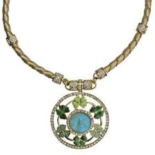 KIRKS FOLLY SEAVIEW MOON FAIRY CIRCLE OF CLOVER MAGNETIC NECKLACE  goldtone
