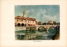 Stampa antica BOFFALORA SOPRA TICINO il ponte Milano 1932 Old print