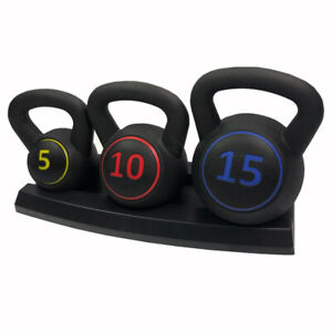 3pcs Kettle bell Set Kettlebells Weight Weights Sets Exercise Gym+Rack Stand UK