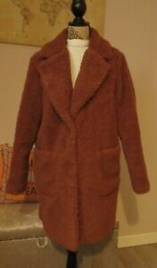 New Look Rust Teddybear Button Fastening Coat Size14