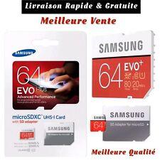 Carte Mémoire Micro 64 Go SDHC SDXC Samsung Evo Plus 64 GB UHS-1 80Mbs/s+Adopter