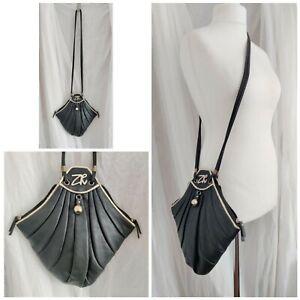 Zandra Rhodes Ellie black bag art deco long double straps gold quilted