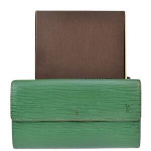 LOUIS VUITTON Credit Long Bifold Wallet Epi Leather Green Spain M63574 02MI874