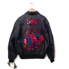Marvel Spiderman Leather Jacket L Black Red Spidey Men's Embroider Logo Coat NWT
