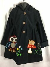 Maria Elena Girls Blue Corduroy Hooded Coat Embroidered Appliqué Owl Size 5