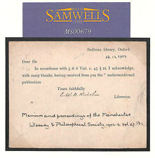MS679 1902 GB Oxford University Postal Stationery Card * Biblioteca bodleiana * RARA