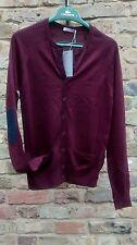 COS deep red burgundy merino wool cardigan elbow patch XS 6 8 NEW