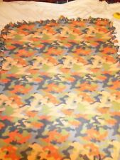 BLANKET ~ NEW TENNESSEE FOOTBALL  ORANGE CAMOUFLAGE HAND TIED DOUBLE SIDE FLEECE