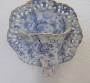Night light- CUP & SAUCER- delft pattern- blue & white -ceramic- very pretty