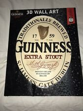 GUINESS 1759 Extra Stout Oval Wooden 3D Wall Art Sign Collectible