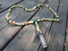 Protection Meditation Necklace Malachite Calcite Green Aventurine Aragonite Vial