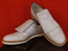NIB GUCCI  WHITE LEATHER REMOVABLE FRINGE BROGUE GOLF OXFORDS 10.5 11.5 # 368438