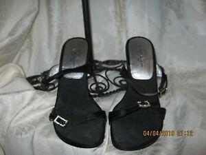 Chinese Laundry Black Satin Heels 6.5